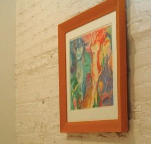 Karen's 'Three Figures', pastel, in display at Studio Clout