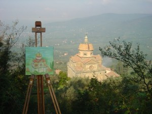 Karen's painting of Santa Maria Nuova in progess