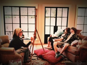Karen painting Gracie and Stephen