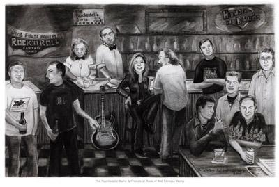 "The Psychedelic Burrs and Friends at Rock and Roll Fantasy Camp Bar Series 32"" x 20""  Charcoal on paper 2005 (prints available)"