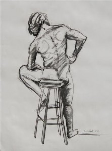 "Male Nude on a Bar Stool Figures 2011 - 2012 18"" x 22""  Charcoal on paper 2011 $145"