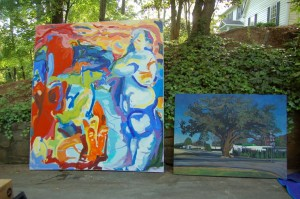 (Left) 'Blue Woman Blew', (Right) 'The Friendship Oak'